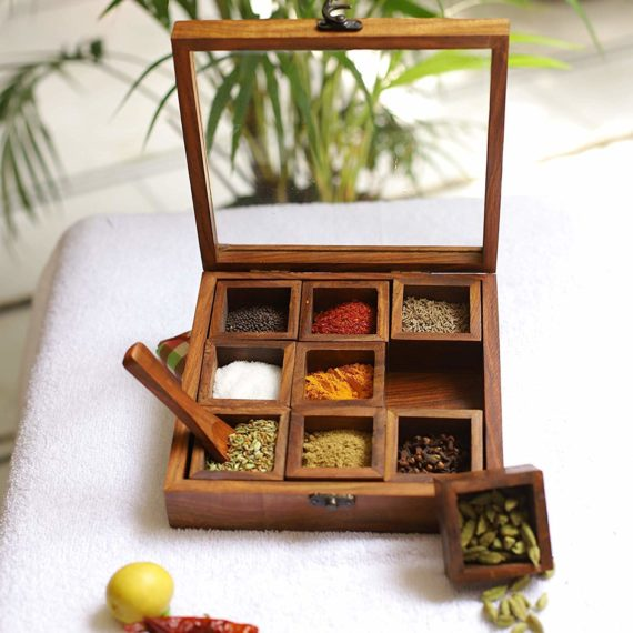 Sheesham Wooden Table Top spice box