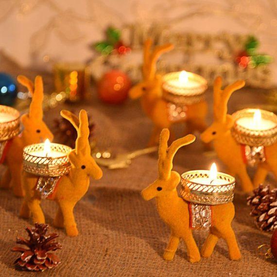 Decorative deer candle holder set of 6