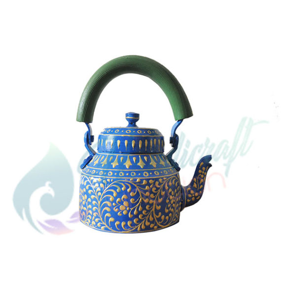Hand Painted Figurine Aluminum Decorative Blue Tea Kettle Pot